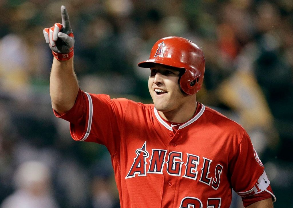 Mike Trout after a successful hit